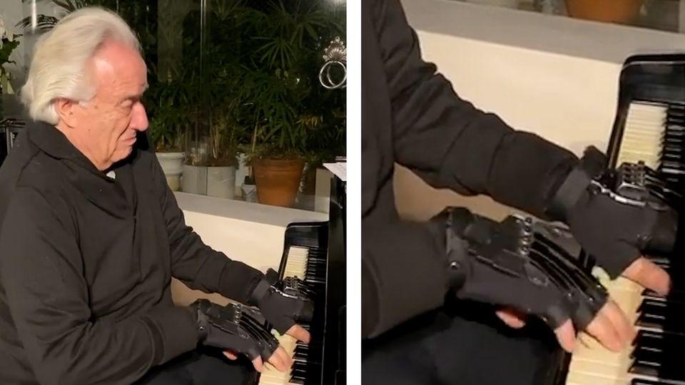 Zu Tränen gerührt: Brasilianischer Pianist und Dirigent kann dank bionischer Handschuhe wieder Klavier spielen