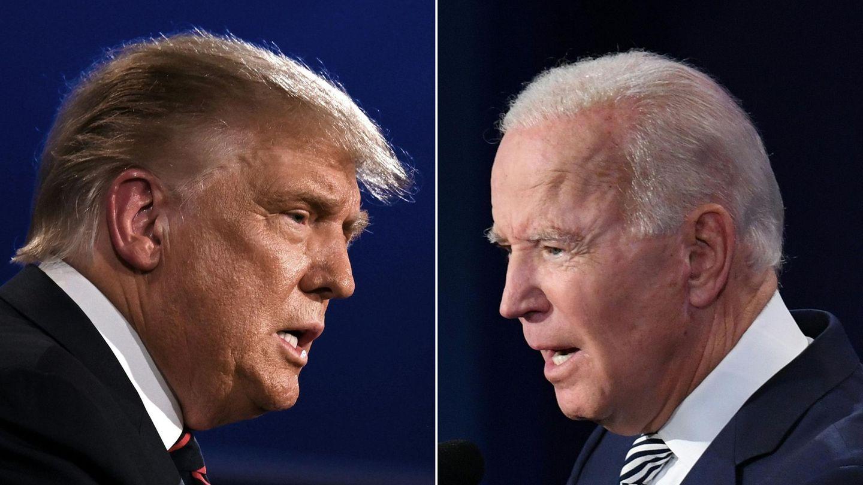US-Präsident Donald Trump (l.) und Joe Biden (r.). Präsidentschaftskandidat der US-Demokraten