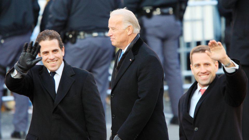 Joe Biden mit seinen Söhnen Hunter und Beau