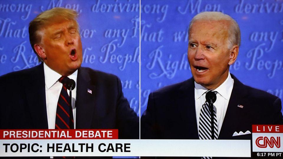 US-Präsident Donald Trump und sein Herausforderer Joe Biden bei ihrem TV-Duell