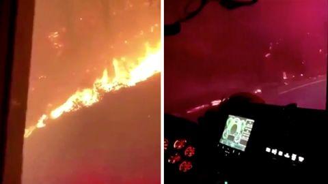 Feuerwehr schockiert mit Fahrt durch Flammen in Kalifornien