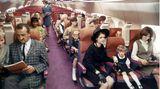 Im Inneren des Modells: ImVergleich zur Concorde sollte die Boeing 2707 an Bord fast Großraum-Komfort bieten. Interessant die halboffenen Gepäckfächer über und die Monumente für Beleuchtung und Belüftung zwischen den Sitzen.