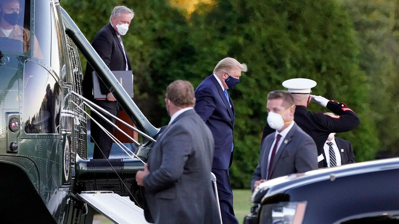 Trump Coronavirus:  Donald Trump, Präsident der USA, kommt im Walter-Reed-Militärkrankenhaus an