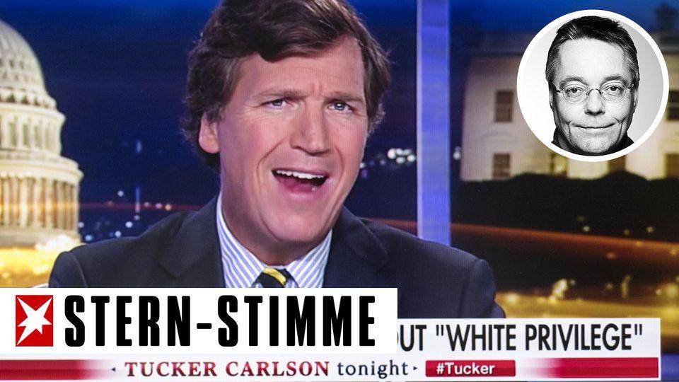Fox-News-Moderator Tucker Carlson mit Kopf von Kolumnist Michael Streck
