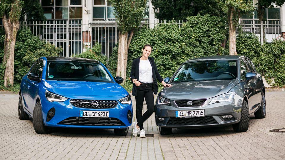 Merle Riepert zwischen Opel Corsa E und Seat Leon