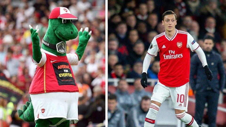 "Arsenal London: Maskottchen nach 27 Jahren geschasst: So will Mesut Özil den ""Gunnersaurus"" retten"