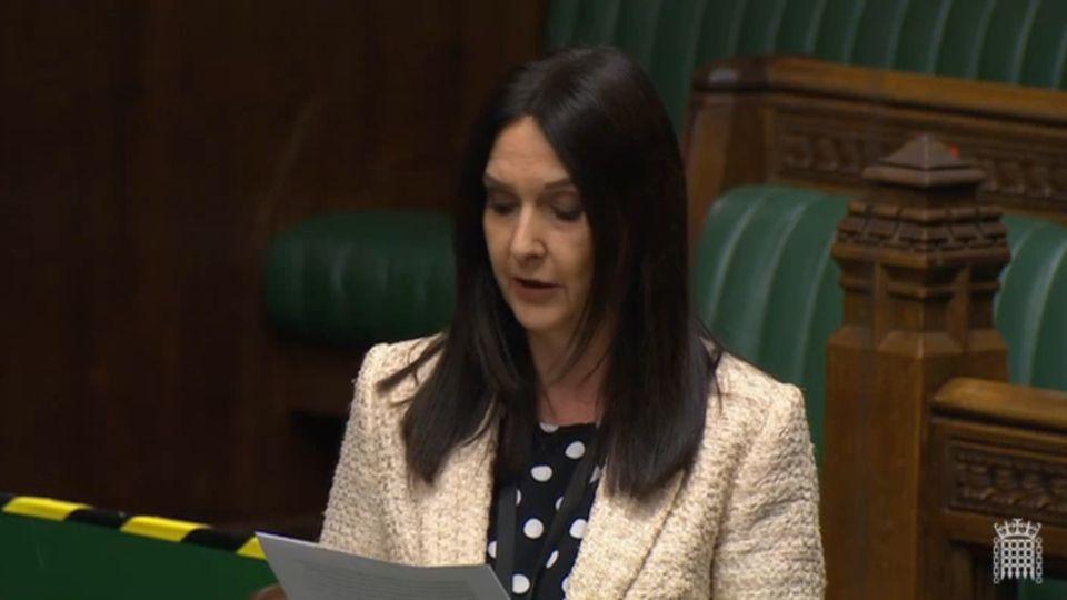 Die schottische Abgeordnete Margaret Ferrier spricht imLondonerParlament.
