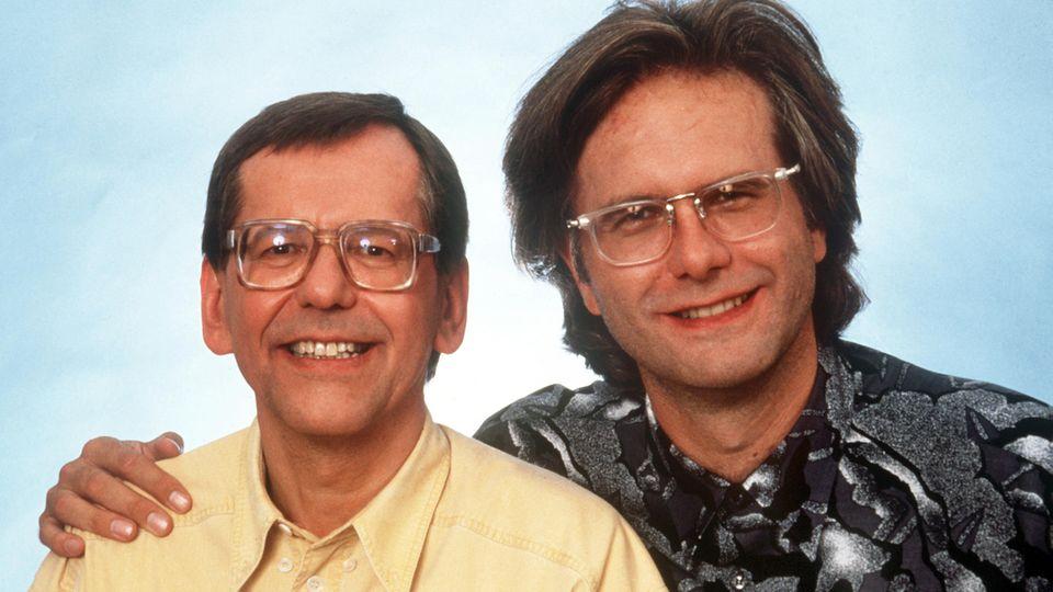 """HerbertFeuerstein (l.) und Harald Schmidt 1992 während ihrer gemeinsamen Zeit für """"Schmidteinander"""""""