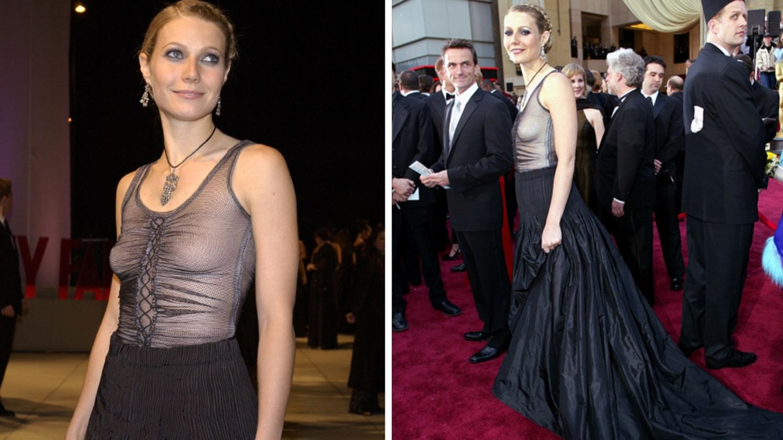 Gwyneth Paltrow kam zu den Oscars 2002 ohne BH und mit transparentem Top