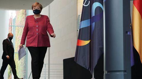 Bundeskanzlerin Angela Merkel (CDU) nach den Beratungen mit den Bürgermeister der elf größten Städte Deutschlands