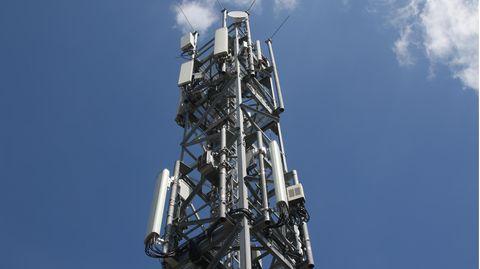 Ein Mobilfunkmast im Berliner Stadtteil Schmöckwitz in der Nähe des Hauptstadtflughafens BER