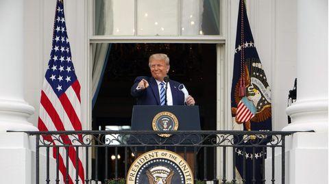 US-Präsident Donald Trump bei seiner Ansprache vom Balkon des Weißen Hauses