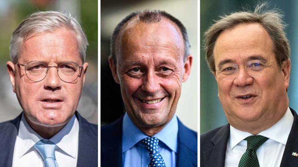 Die Bewerber um den CDU-Parteivorsitz Norbert Röttgen, Friedrich Merz, Armin Laschet