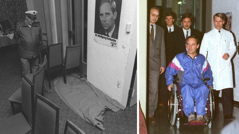 12.Oktober 1990: Das Attentat auf Wolfgang Schäuble  Deutschland steht kurz vor der ersten Bundestagswahl nach der Wiedervereinigung. Der damalige Bundesinnenminister Wolfgang Schäuble (CDU) tritt bei einer Wahlkampf-Veranstaltung in der badischen Kleinstadt Oppenau auf. Der Abend neigt sich dem Ende.Schäuble gibt einer Besucherin gerade ein Autogramm, als plötzlich ein psychisch kranker Mann dreimal auf ihn schießt (linkes Bild zeigt den Tatort).Seitdem sitzt Schäuble querschnittsgelähmt im Rollstuhl (rechtes Bild zeigt ihn bei seinem ersten öffentlichen Auftritt sechs Wochen später).Ein Ausstieg aus dem politischen Geschäft kam für den Vollblutpolitiker jedoch nicht in Frage.