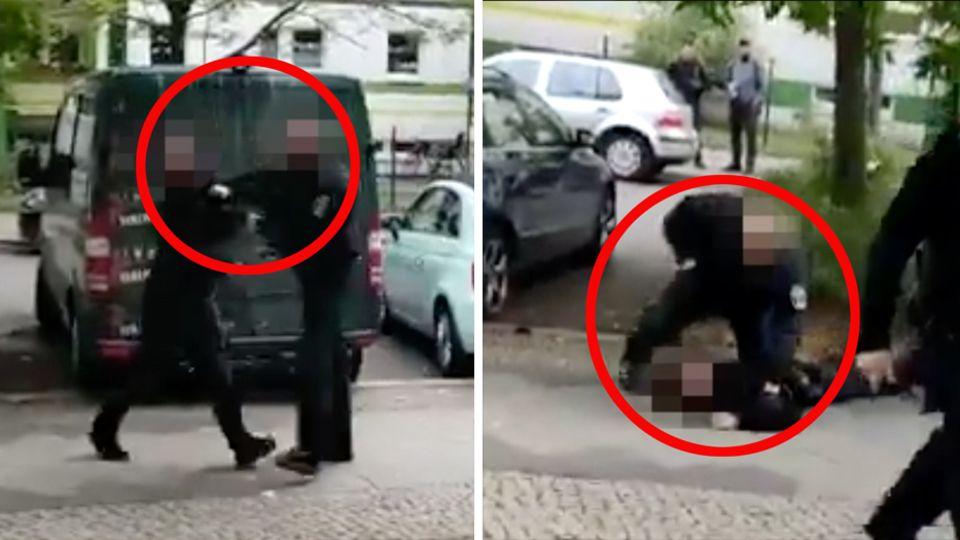 Links schlägt ein Polizist einem jungen Mann vor sich ins Gesicht, rechts schlägt er den inzwischen Liegenden in den Nacken