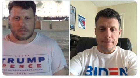 Zwei Fotos vom selben Mann: Links trägt er ein Trump-T-Shirt, rechts eins von Joe Biden.