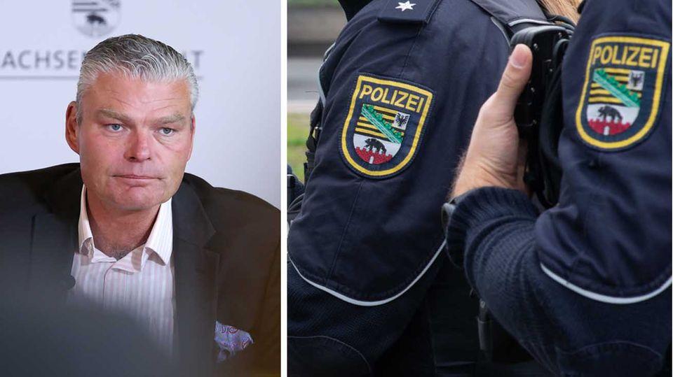 Sachsen Anhalts Innenminister Holger Stahlknecht; Polizeibeamte