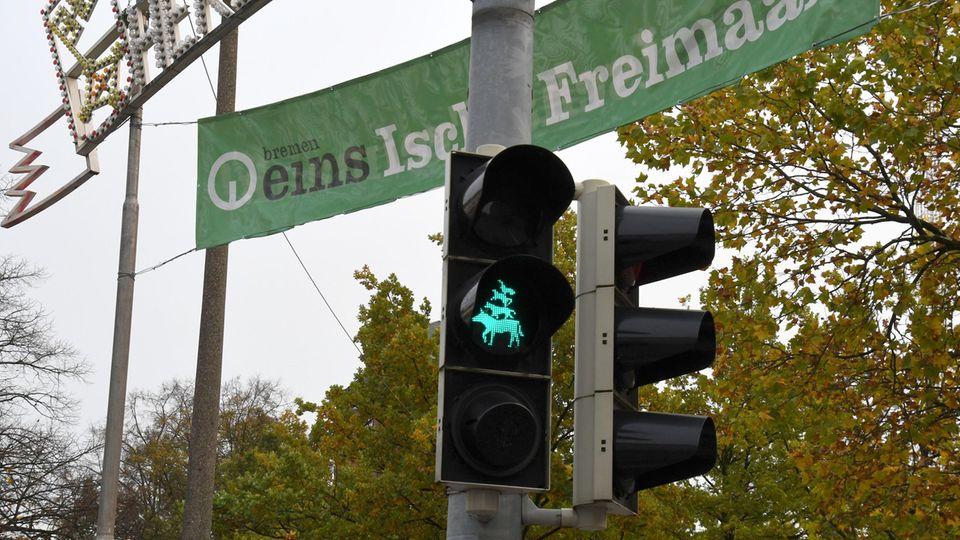 Ampel mit dem Motiv der Bremer Stadtmusikanten