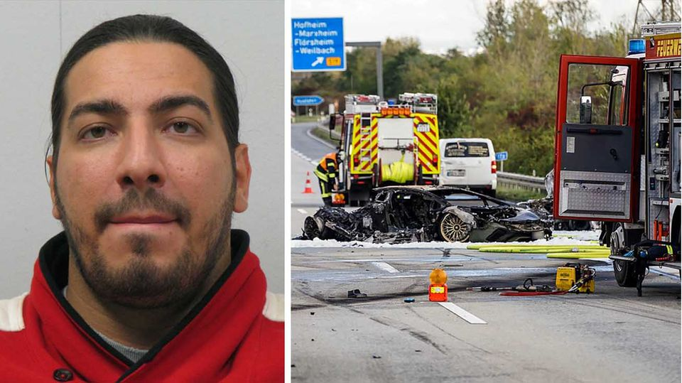 Der zwischenzeitlich von der Polizei gesuchte Ramsy A.; Unfallstelle nach illegalem Autorennen auf der A66
