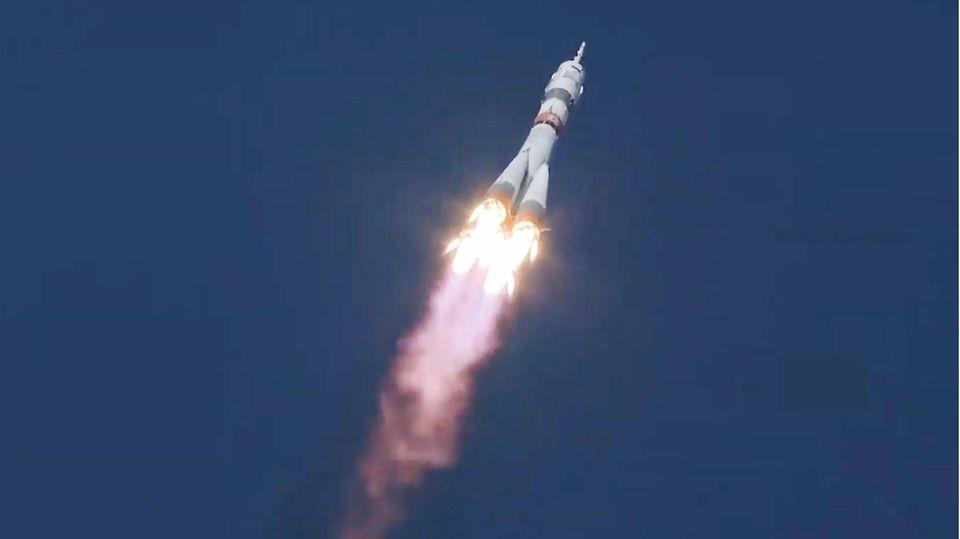 Die Sojus-Rakete startet in Richtung ISS
