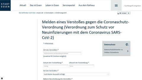 Das Online-Formular der Stadt Essen, mit dem Bürger Verstöße gegen Corona-Regeln melden können