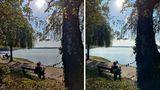 Neues Smartphone: Bei Tagesaunahmen mit Gegenlicht halten sich beide die Waage. Das Oneplus 8T (links) fängt mehr Details am Baum ein, das iPhone lässt das Gesicht erkennbar. Toll: Beide lassen sich nicht von der Sonne stören und stellen den Himmel sehr natürlich dar.