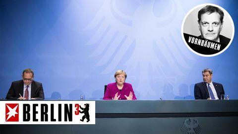 Berlins Regierender Bürgermeister Michael Müller, Bundeskanzlerin Angela Merkel, Bayerns Ministerpräsident Markus Söder