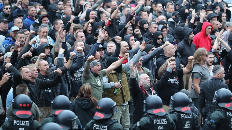 Demonstration in Chemnitz, Sachsen
