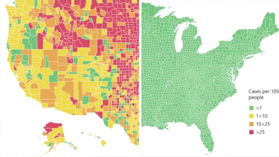 Eine Karte der USA zeigt in grünen, gelben, orangen und roten Flecken, wo wenige und wo viele Corona-Fälle sind