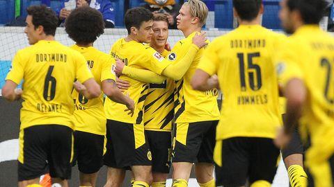 BVB-Spieler bejubeln das 1:0 im Fußball-Bundesligaspiel gegen Hoffenheim