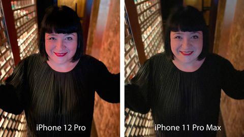 Dieses Foto liegt licht-technisch zwischen dem ersten und zweiten. Ein schummriger Gang mit viel künstlichem Seitenlicht in einer Bar. Auch hier schneidet das 12 Pro klar besser ab. Während beim 11er die Haare kaum zu erkennen sind, wird die Person links scharf dargestellt.