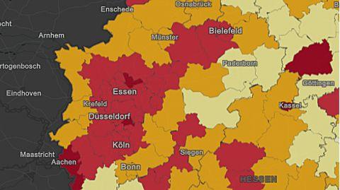 Ein Kartenausschnitt zeigt das gesamte Ruhrgebiet rot eingefärbt