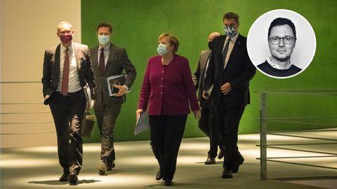 Angela Merkel und Ministerpräsidenten nach dem Corona-Krisengipfel