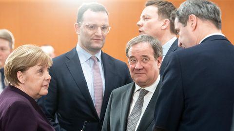 Merkel, Spahn, Lachet, Hans, Söder im Gespräch