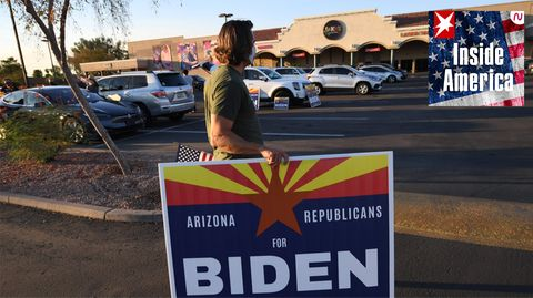 Republikaner mit Biden-Schild in Arizona