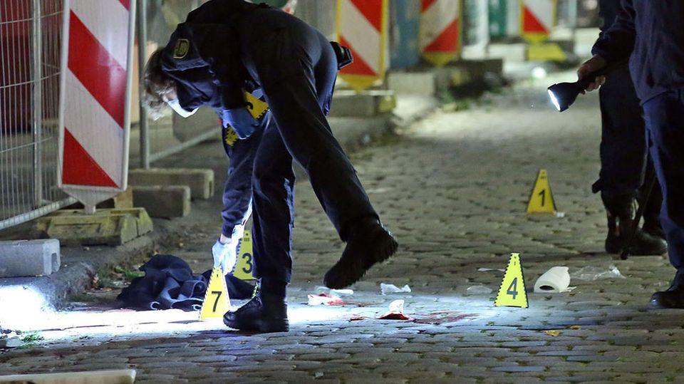 Polizei in der Innenstadt von Dresden