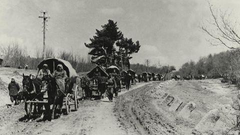 Umsiedlung von 250 000 'Volksdeutschen' aus der Sowjetunion in den Warthegau (Wartheland) im deutsch besetzten Polen im Juli 1944