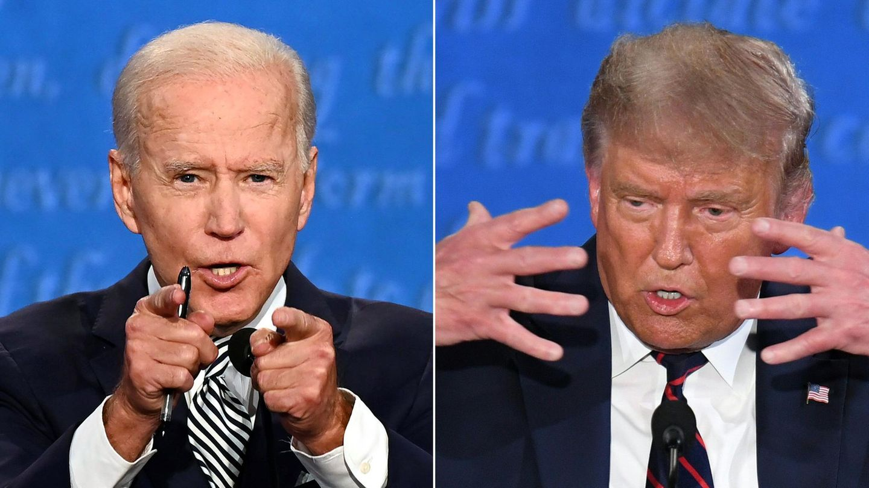 Joe Biden und Donald Trump gestikulieren