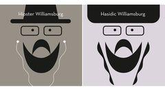 Bild 1 von 4der Fotostrecke zum Klicken:  Hipster gibt es in Williamsburg im Überfluss. Die Gruppe ist schwer zu definieren, aber leicht an Gesichtsbehaarung,Eitelkeitsbrillen und Kopfhörern zu erkennen.  Schon lange sind in diesem Stadtteil auch orthodoxen Juden zu Hause, mit Schläfenlocken, Bart und Pelzhut, dem Schtreimel.