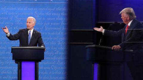 Donald Trump und Joe Biden während des TV-Duells in Nashville
