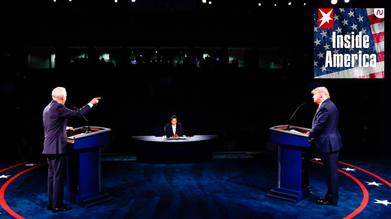 US-Präsident Donald Trump (r.) und sein HerausforderJoe Biden bei ihrem TV-Duellin Nashville