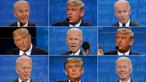 US-Präsident Donald Trump und sein demokratischer Herausforderer Joe Biden bei ihrem TV-Duellin Nashville, Tennessee