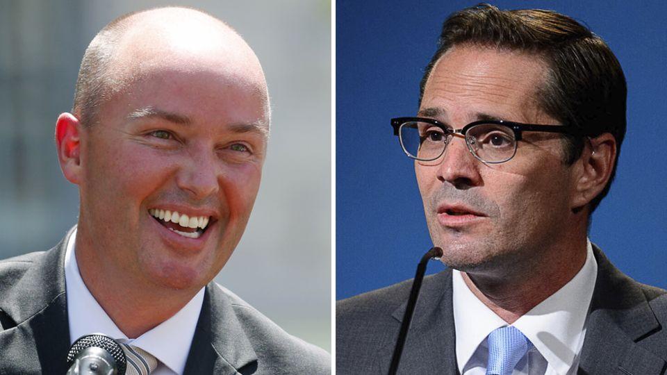 Rivalisierende Kandidaten, die darum wetteifern, Utahs nächster Gouverneur zu werden: Spencer Cox (l.) und Chris Peterson
