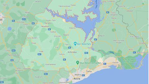 Eine Landkarte zeigt Ghana