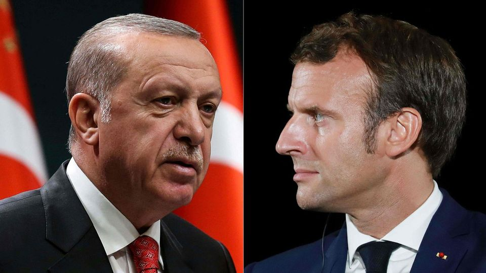 Recip Tayyip Erdogan und Emmaniel Macron (r.)