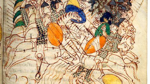 Gepanzerte Reiter im Leidener Makkabäer-Codex aus dem frühen10. Jahrhundert