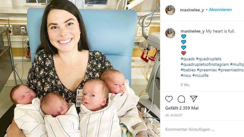 Maxine Young hält ihre vier Babys im Arm