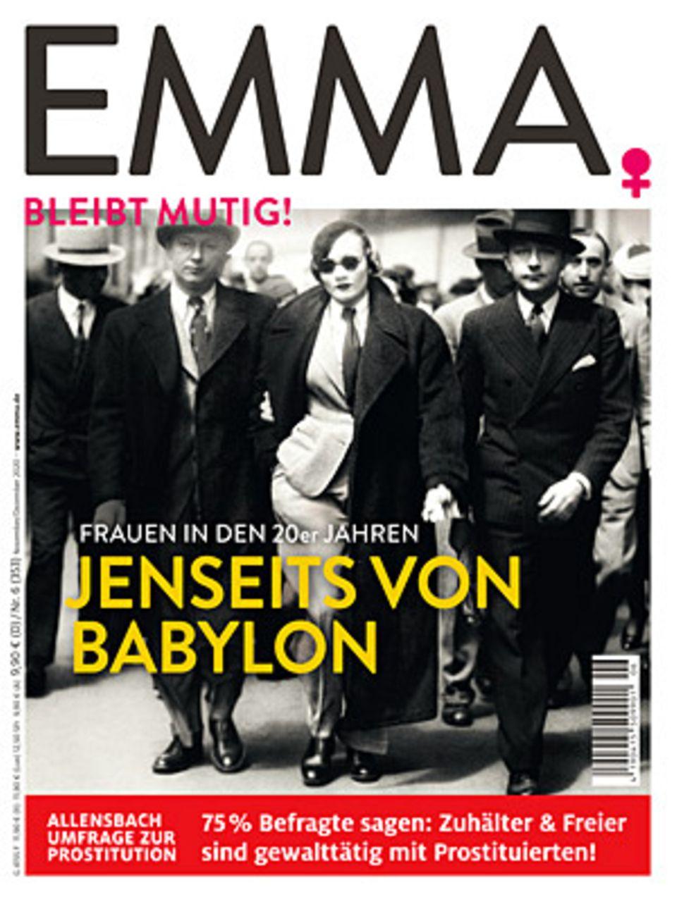"""Die ganze Studie und die Umfrageergebnisse zum Thema Prostitution finden Sie in der aktuellen Ausgabe der Zeitschrift """"Emma"""", die am29.10. erscheint."""