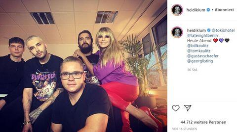 """Tokio Hotel waren zu Gast bei """"Late Night Berlin"""" - Heidi Klum saß im Publikum"""