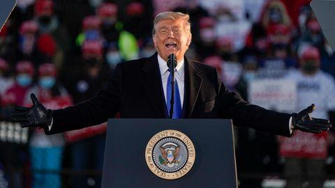Donald Trump, Präsident der USA, spricht auf einer Wahlkampfveranstaltung